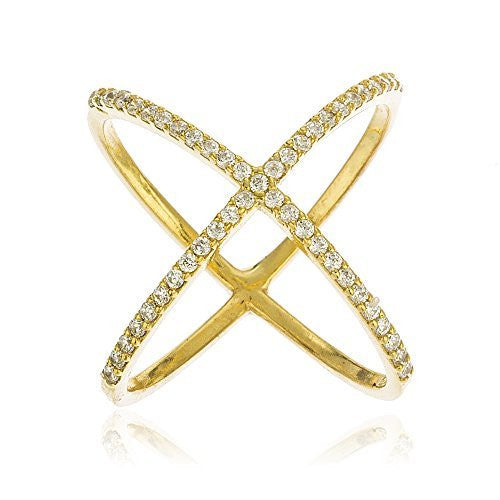 Ladies 925 Sterling Silver Goldtone Criss...