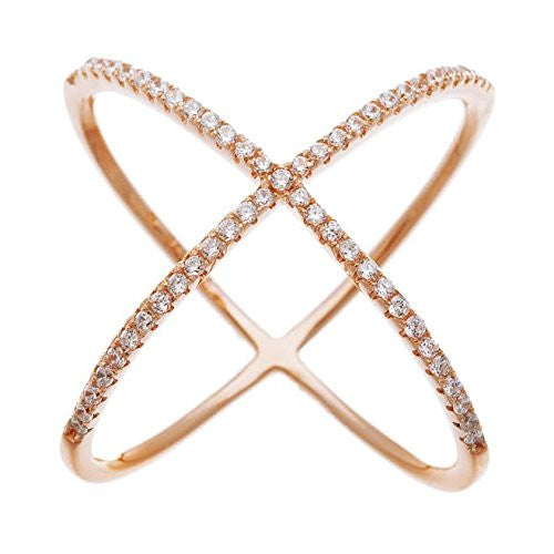 Ladies 925 Sterling Silver Rose Goldtone Criss Cross 'X' Ring With Cubic Zirconia Stones