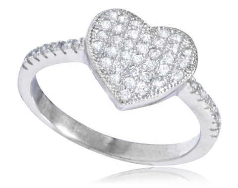 Ladies 925 Sterling Silver 'Stone Heart' Ring With Cubic Zirconia