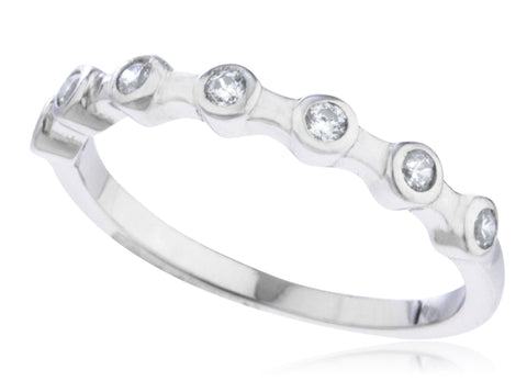 Ladies 925 Sterling Silver 'Stone Symmetry' Ring With Cubic Zirconia