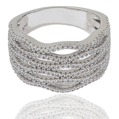 Ladies 925 Sterling Silver Symmetrical Cubic...