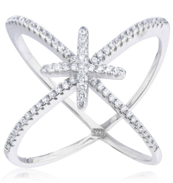 Ladies 925 Sterling Silver 'X' Ring With Center Cross And Cubic Zirconia Stones