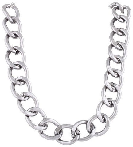 Ladies Aluminum Hematite 24mm 18 Inch Adjustable Chunky Cuban Chain Necklace
