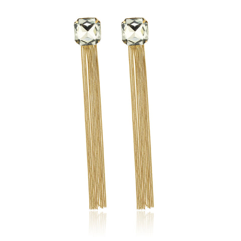 Ladies Diamond Square Studs With Goldtone Spiral Dangle Strings