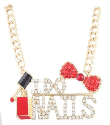 Ladies Extra Large Goldtone Fully Iced Out I Do Nails Red & Black Nail Polish And Bow Pendant With A 20 Inch Adjustable Link Necklace