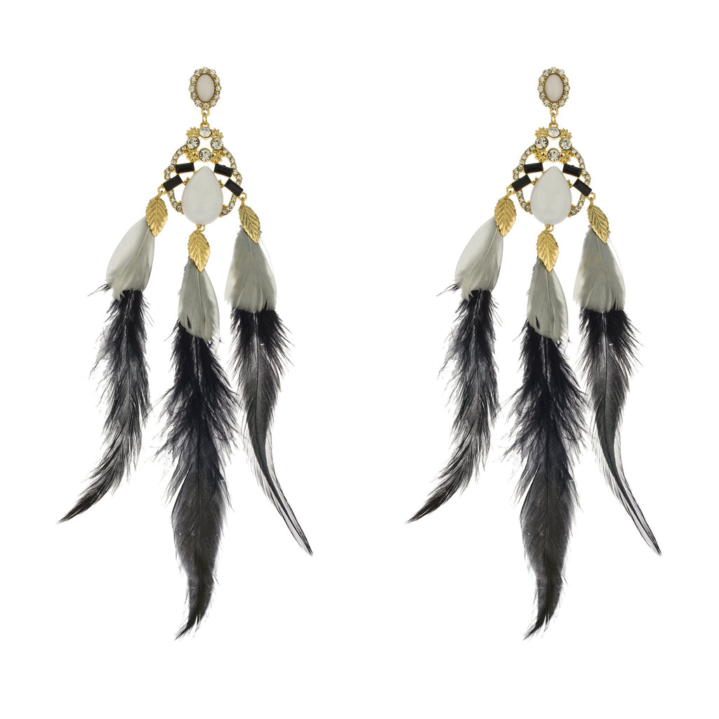 Ladies Fancy Black And White Feather...