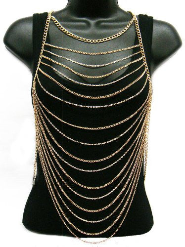 Ladies Goldtone Horizontally Layered Body Chain