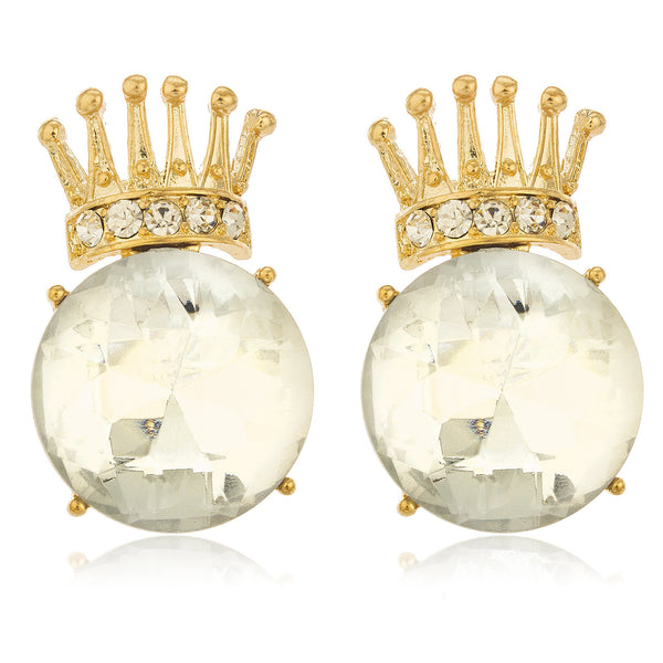 Ladies Goldtone Iced Out Crown With Large Clear Stone Stud Earrings