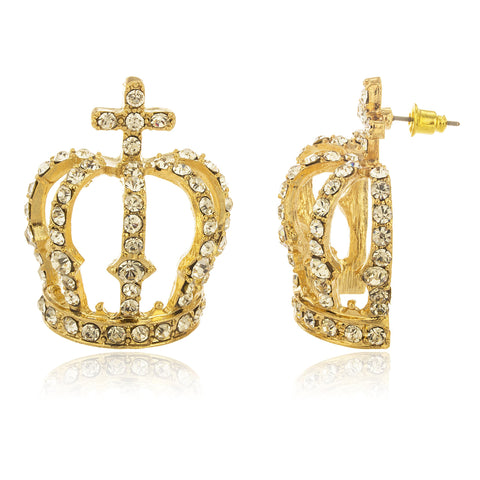 Ladies Goldtone Large Crown With Clear Stones Stud Earrings