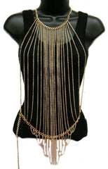 Ladies Goldtone Vertically Layered Body Chain