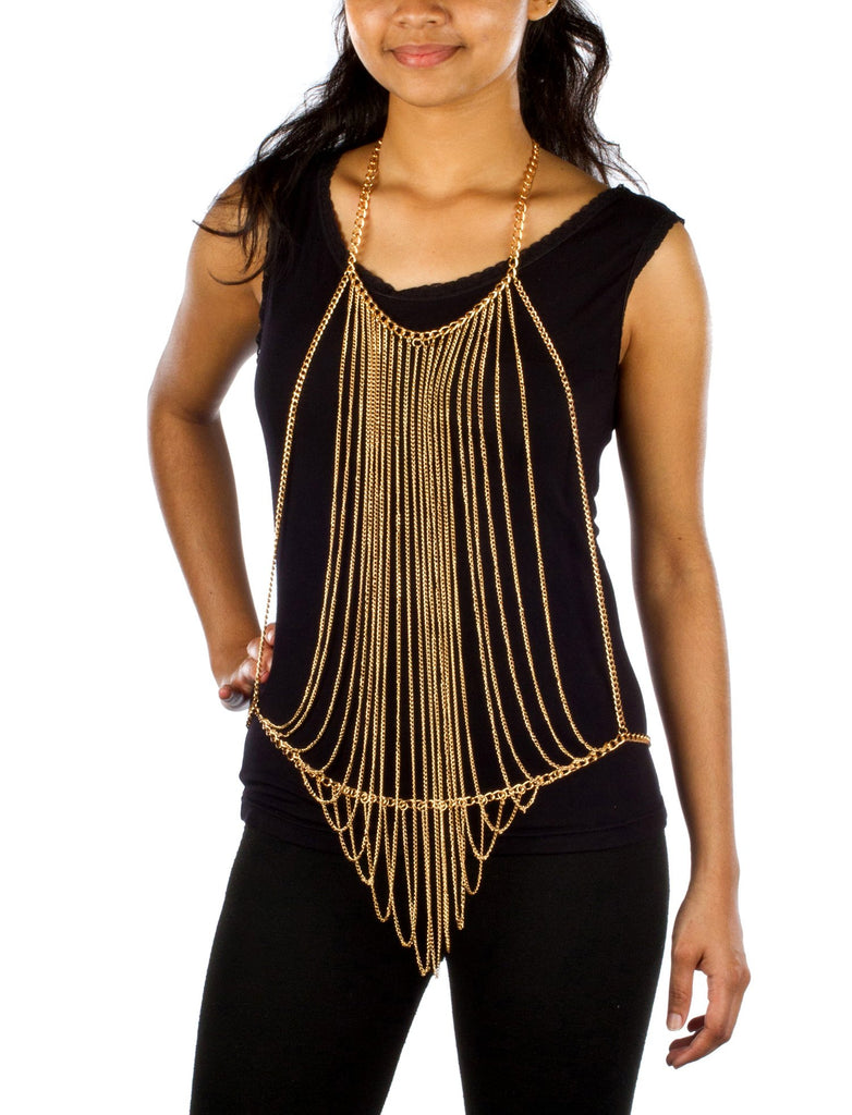 Ladies Goldtone Vertically Layered Body Chain...