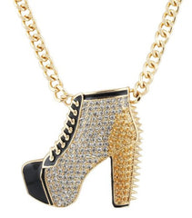 Ladies Goldtone With Black Spiked And Laced Bootie Heel Pendant With An 18 Inch Adjustable Necklace