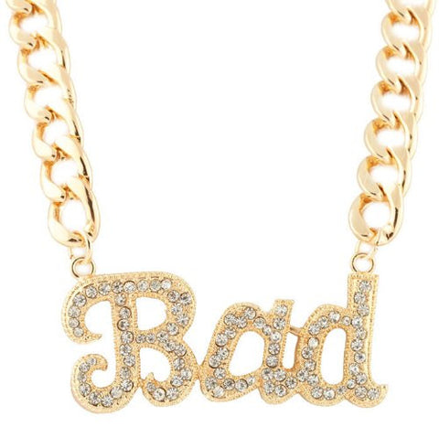 Ladies Metallic Goldtone With Clear Iced Out Script Bad Pendant With A 15 Inch Adjustable Thick Cuban Chain Necklace
