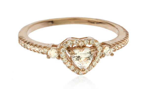 Ladies Real 925 Sterling Silver Cubic Zirconia Gold Heart-shaped Stone Engagement Ring Size 7