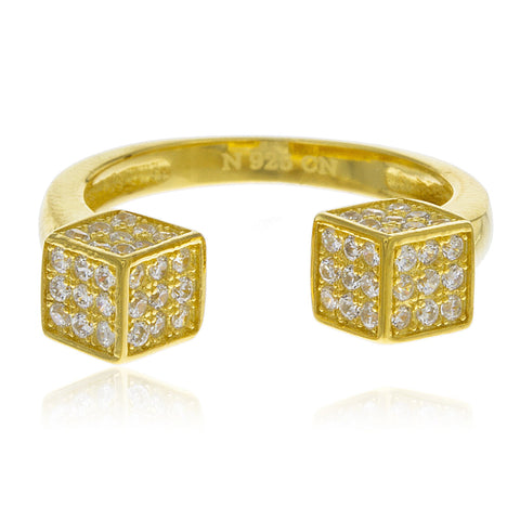 Ladies Real 925 Sterling Silver Goldtone Double Dice Open End Ring With Cubic Zirconia Stones