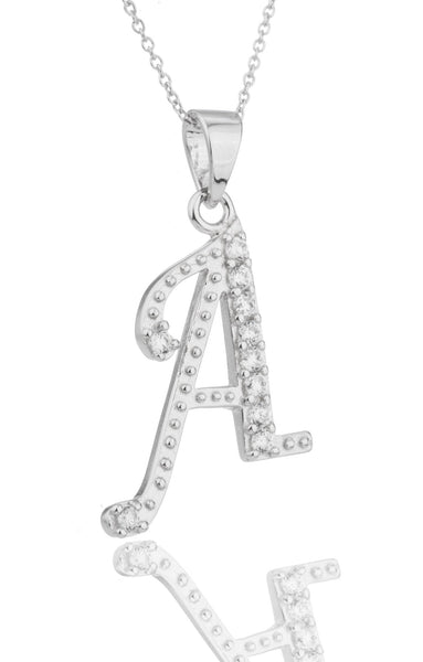 Ladies Real 925 Sterling Silver 'Letters Of The Alphabet' Pendant With Cz Stones And An 18 Inch Link Necklace (A)