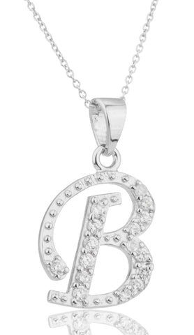 Ladies Real 925 Sterling Silver 'Letters Of The Alphabet' Pendant With Cz Stones And An 18 Inch Link Necklace (B)