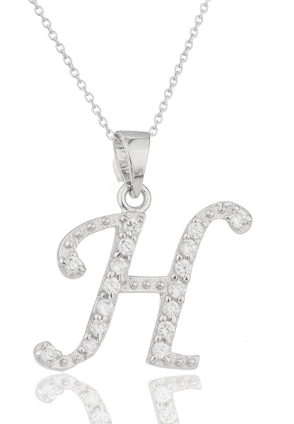 Ladies Real 925 Sterling Silver 'Letters Of The Alphabet' Pendant With Cz Stones And An 18 Inch Link Necklace (H)