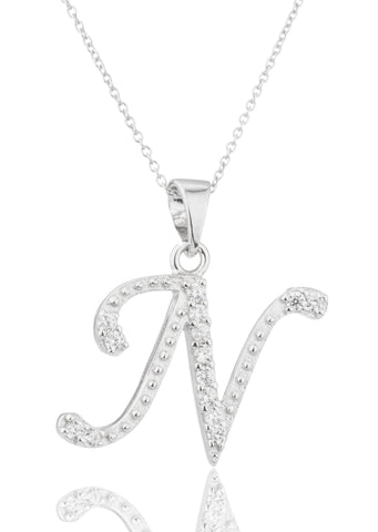 Ladies Real 925 Sterling Silver 'Letters Of The Alphabet' Pendant With Cz Stones And An 18 Inch Link Necklace (N)