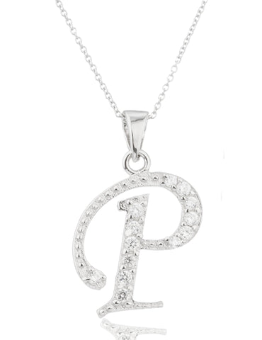 Ladies Real 925 Sterling Silver 'Letters Of The Alphabet' Pendant With Cz Stones And An 18 Inch Link Necklace (P)