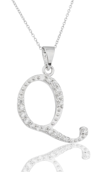 Ladies Real 925 Sterling Silver 'Letters Of The Alphabet' Pendant With Cz Stones And An 18 Inch Link Necklace (Q)