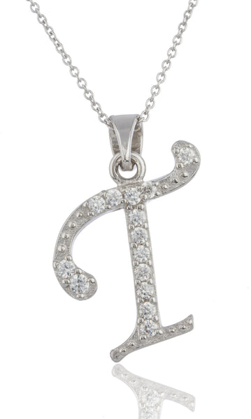 Ladies Real 925 Sterling Silver 'Letters Of The Alphabet' Pendant With Cz Stones And An 18 Inch Link Necklace (T)