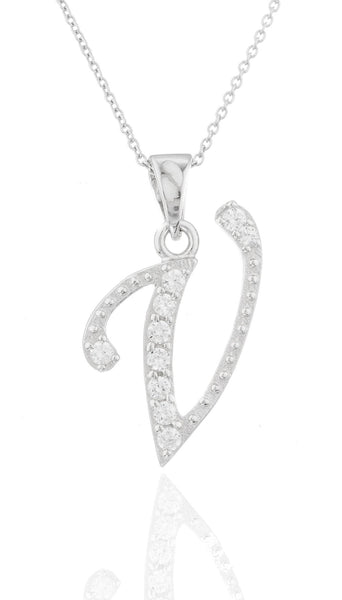 Ladies Real 925 Sterling Silver 'Letters Of The Alphabet' Pendant With Cz Stones And An 18 Inch Link Necklace (V)