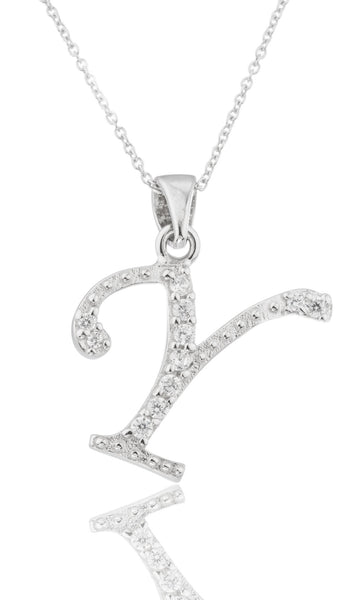 Ladies Real 925 Sterling Silver 'Letters Of The Alphabet' Pendant With Cz Stones And An 18 Inch Link Necklace (Y)