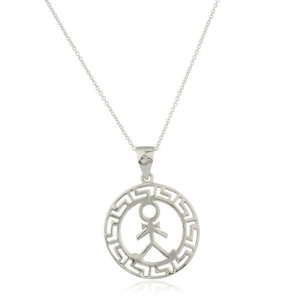 Ladies Real 925 Sterling Silver Male Figure Greek Key Design Pendant With An 18 Inch Link Necklace