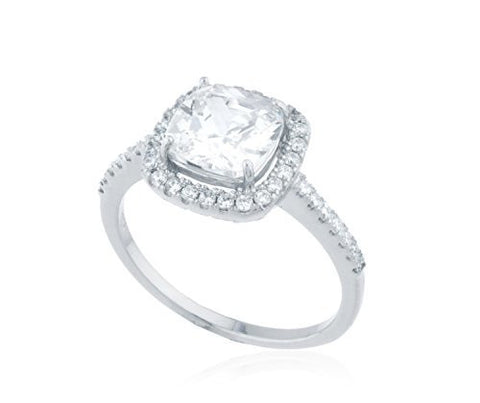 Ladies Real 925 Sterling Silver Square Frame Halo Engagement Ring