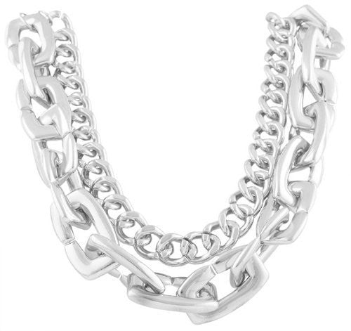 Ladies Silvertone 21 Inch Adjustable Double Cuban And Link Chain Necklace