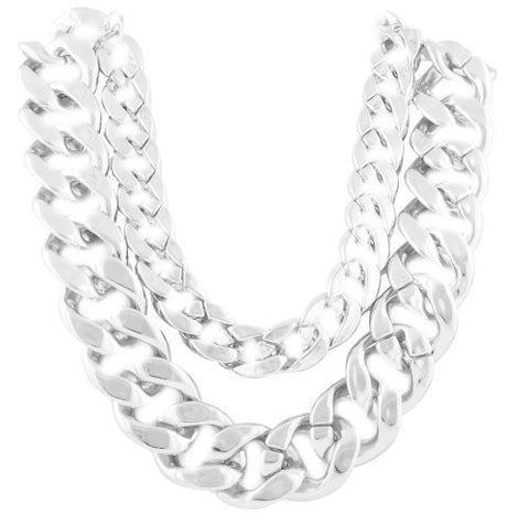 Ladies Silvertone 21 Inch Adjustable Thick Double Cuban Link Chain Necklace
