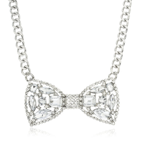 Ladies Silvertone Iced Out Bow Pendant With A 16 Inch Chain Necklace