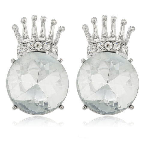 Ladies Silvertone Iced Out Crown With Large Clear Stone Stud Earrings