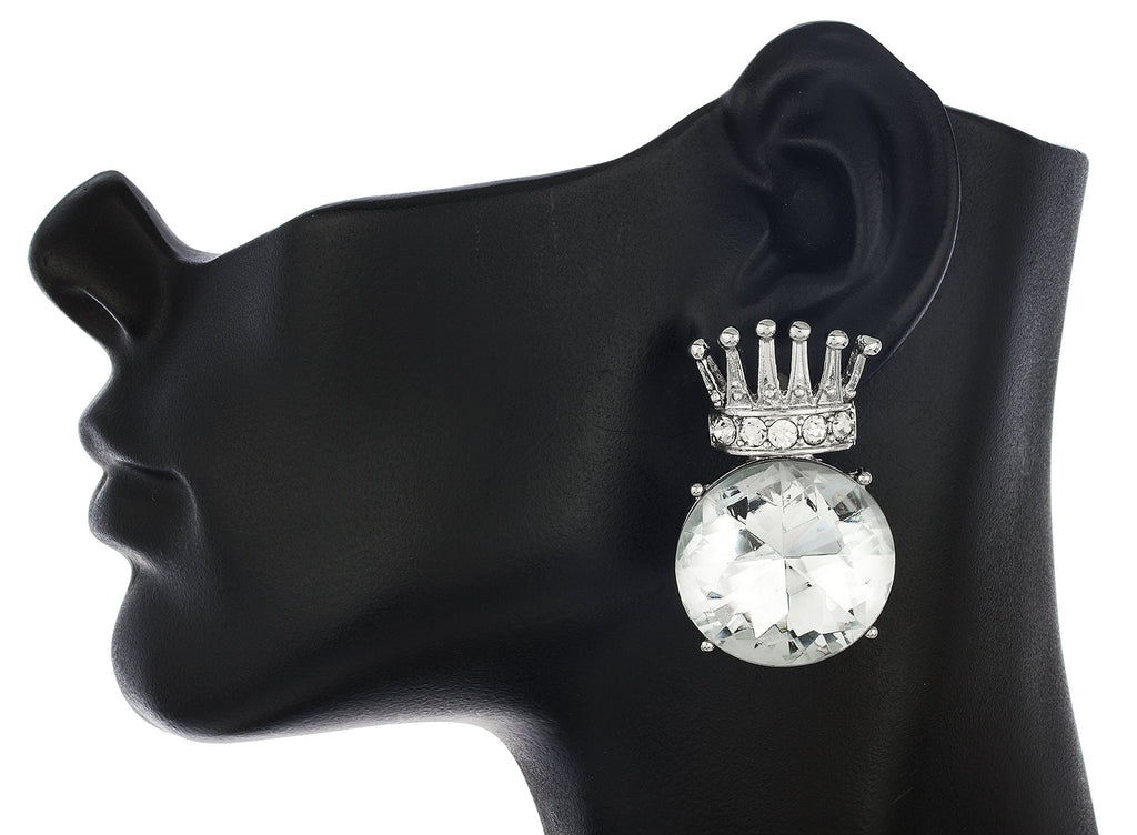 Ladies Silvertone Iced Out Crown With...