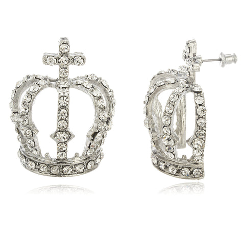 Ladies Silvertone Large Crown With Clear Stones Stud Earrings