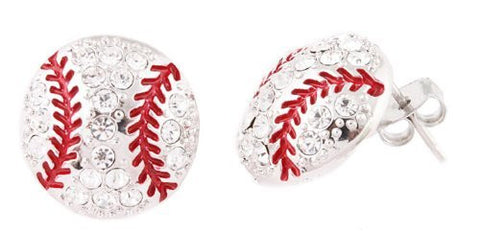 Ladies Silvertone With Clear Iced Out Baseball Stud Earrings