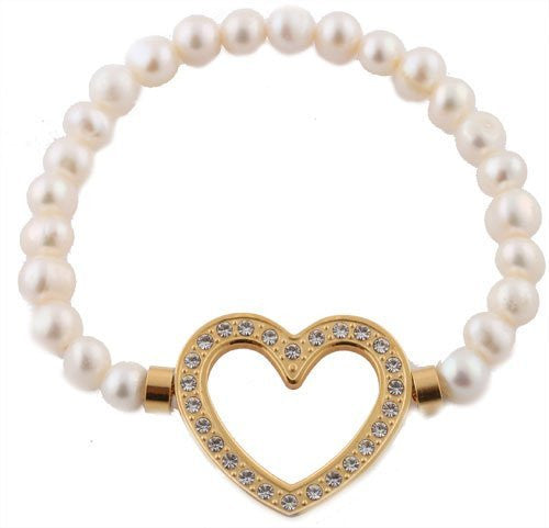 Ladies Stainless Steel White With Gold Iced Out Heart Outline Stretch Beaded Bracelet