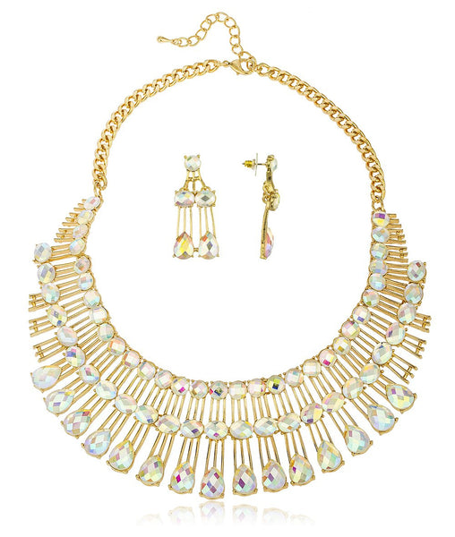 Ladies Three Tier Iced Out Bib Necklace 16 Inch Adjustable With Matching Earrings Designer Inspired Jewelry Set