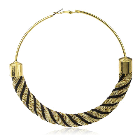 Large Goldtone 100mm Twist Design Hoop Earrings (Colors Vary) (Black)