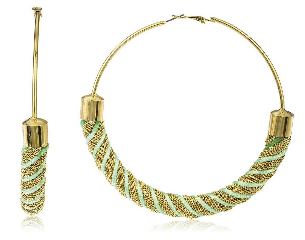 Large Goldtone 100mm Twist Design Hoop...