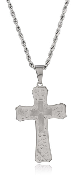Large Stainless Steel Silvertone And White Double Cross Pendant With A 24 Inch Rope Chain Necklace