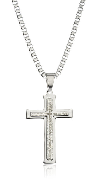 Large Stainless Steel Silvertone Cross With Spanish Text Pendant And A 24 Inch Box Chain Necklace