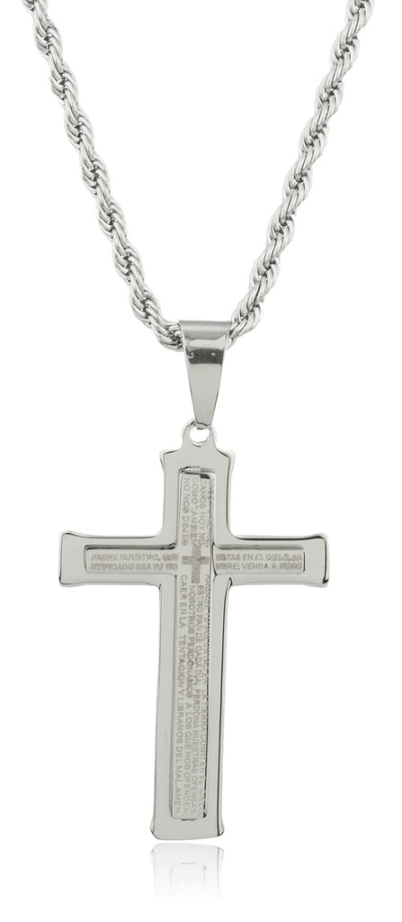 Large Stainless Steel Silvertone Cross With...