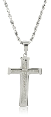 Large Stainless Steel Silvertone Cross With Spanish Text Pendant And A 24 Inch Rope Chain Necklace