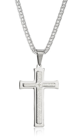 Large Stainless Steel Silvertone Cross With Spanish Text Pendant And A 24 Inch Snake Chain Necklace