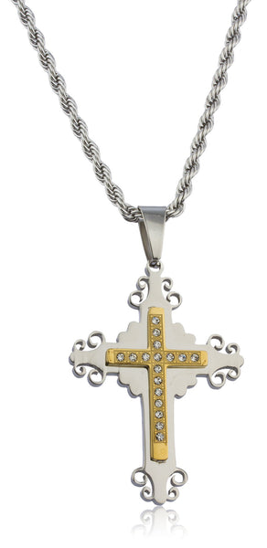 Large Stainless Steel Two-tone Ancient 3d Double Cross Pendant With Stones And A 24 Inch Rope Chain Necklace