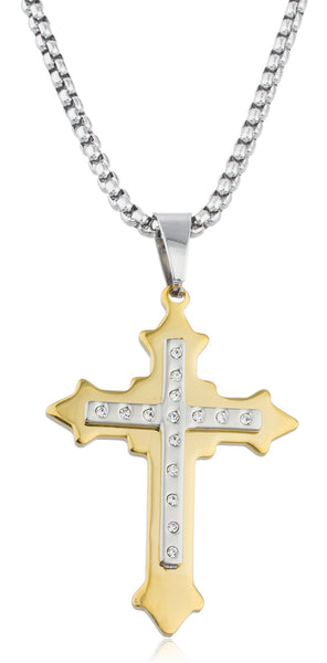 Large Stainless Steel Two-tone Ancient 3d Double Cross Pendant With Stones And A 24 Inch Round Box Chain Necklace