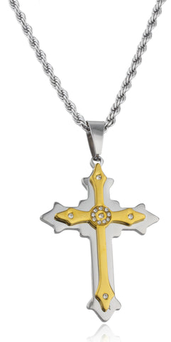 Large Stainless Steel Two-tone Ancient Double Cross Pendant With Centered Stones And A 24 Inch Rope Chain Necklace