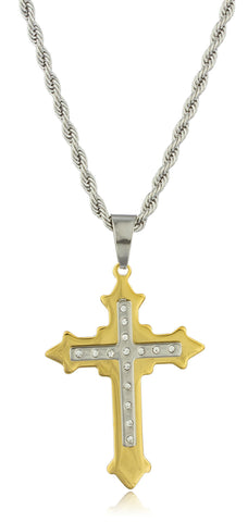 Large Stainless Steel Two-tone Ancient Double Cross Pendant With Stones And A 24 Inch Rope Chain Necklace